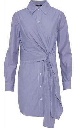 Walter W118 By Baker Saul Tie-Front Striped Cotton-Blend Poplin Mini Shirt Dress