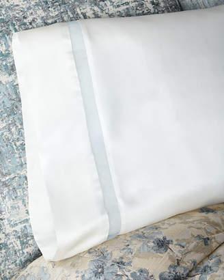 Fino Lino Linen & Lace Amelia Charmeuse Silk Standard Pillowcase with Organza Inset