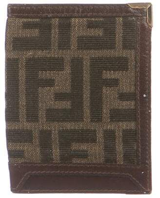 Fendi Vintage Leather-Trimmed Zucca Card Holder