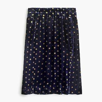 J.Crew Printed pull-on velvet skirt