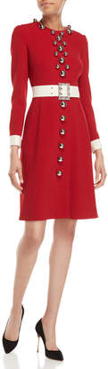 Dolce & Gabbana Red Belted Bauble Long Sleeve Dress