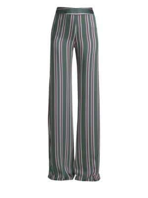 Alexis Nieves Stripe Wide Leg Satin Pants