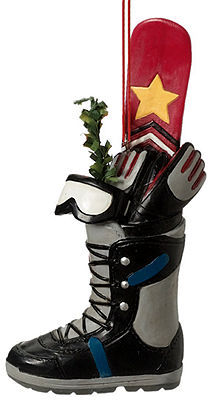 Midwest Christmas Ornament, Snowboard Boot with Gifts