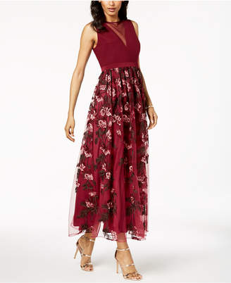 Night Way Nightway Petite Illusion Floral-Embroidered Gown