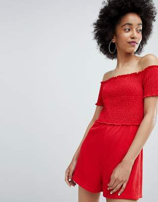 Bershka off the shoulder playsuit in red
