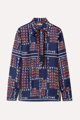 ab6a5c3917a122 Valentino Pussy-bow Printed Silk-twill Shirt - Navy
