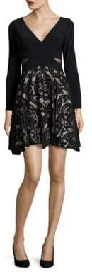 Xscape Evenings Long Sleeve Fit and Flare Dress