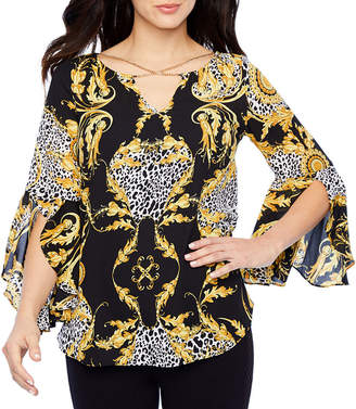 Bold Elements Womens V Neck Long Sleeve Georgette Blouse