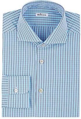 Kiton Men's Checked Cotton Dress Shirt - Turquoise