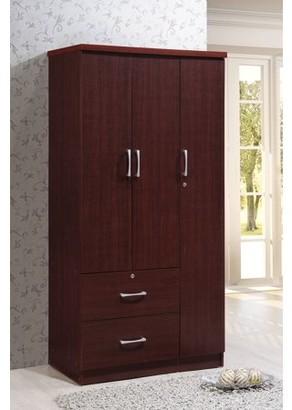 Hodedah 36 in. Wide 3-Door Armoire with 2-Drawers in Mahogany