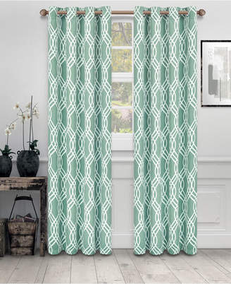 "Superior Soft Quality Woven, Ribbon Collection Blackout Thermal Grommet Curtain Panel Pair, Set of 2, 52"" x 63"""