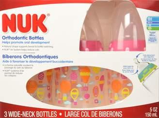 NUK Orthodontic Silicone BPA Free Nipple Bottle, 3-Pack