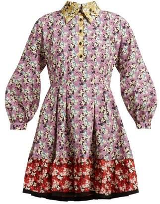 Valentino Spring Garden Print Collared Cotton Dress - Womens - Multi
