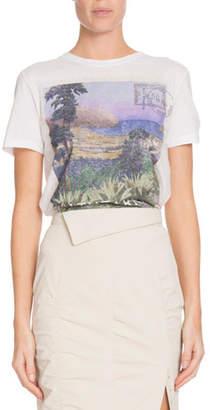 Altuzarra Landscape-Print Crewneck Short-Sleeve Cotton T-Shirt