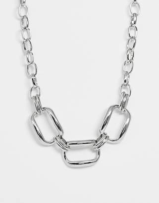 Asos Design DESIGN necklace with oversized hardware link design in silver tone