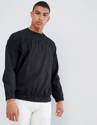 Emporio Armani pin stripe drop shoulder large logo crew neck sweat in black