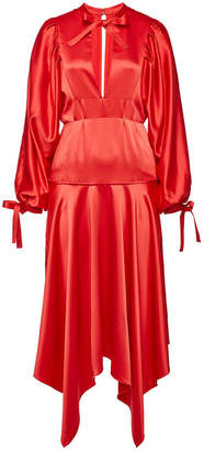 Self-Portrait Satin Dress with Self-Tie Bows