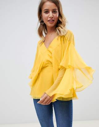 Asos Design DESIGN long sleeve v neck top with floaty sleeve detail