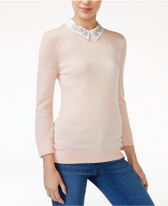 Maison Jules Embellished Collar Sweater, Only at Macy's $89.50 thestylecure.com