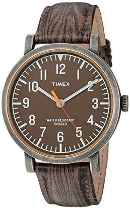 Timex Unisex TWH3Z1910 Originals Oversized Wood Grain/Antique Brass Leather Strap Watch