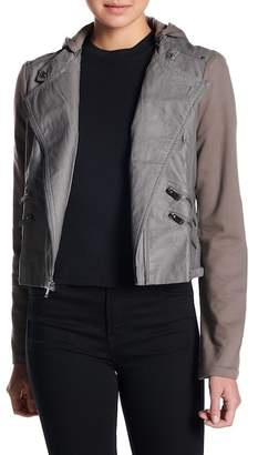 Moto Coffee Shop Hooded Faux Leather Jacket