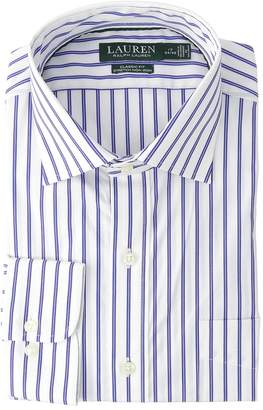 Lauren Ralph Lauren Classic Fit No-Iron Striped Cotton Dress Shirt Men's Long Sleeve Button Up