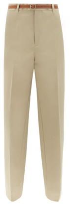 Bottega Veneta Leather Belt Straight Leg Twill Trousers - Womens - Beige