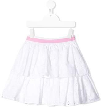 MonnaLisa ruffled perforated skirt