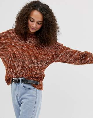 56511c7bb4c198 Brave Soul chunky knit jumper with balloon sleeve