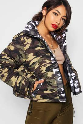 boohoo Crop Camo Puffer Jacket