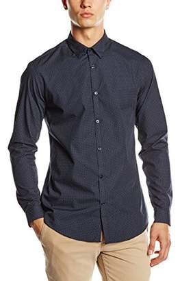 New Look Men's Smart Pin Dot Long Sleeve Slim Fit Formal Shirt
