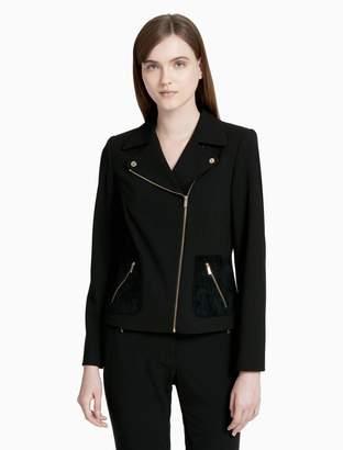 Calvin Klein suede pocket biker jacket
