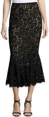 Michael Kors Floral Lace Trumpet Midi Skirt, Black