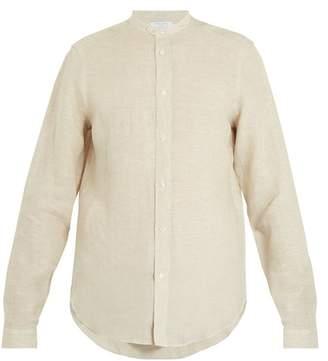Boglioli - Granddad Collar Linen Shirt - Mens - Beige