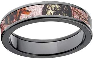 Mossy Oak Pink Break Up Women's Camo 5mm Black Zirconium Band with Polished Edges and Deluxe Comfort Fit