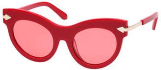 Karen Walker Miss Lark Cat-Eye Acetate Sunglasses, Red Pattern