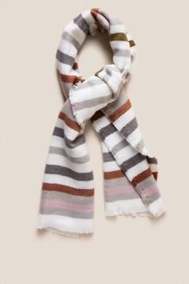 francesca's Adeline Striped Blanket Scarf - White