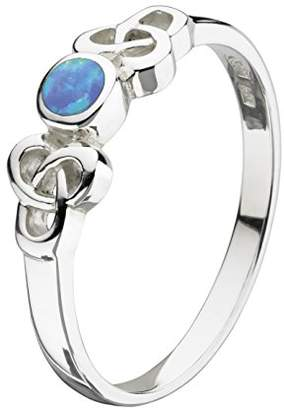 Heritage Sterling Silver Celtic Blue Synthetic Opal Ring - Size E
