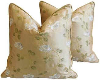 One Kings Lane Vintage Embroidered White Rose Silk Pillows - Pr