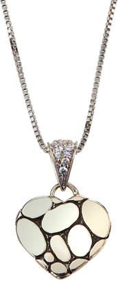 John Hardy Kali Lava Heart Pendant Necklace w/ White Sapphires