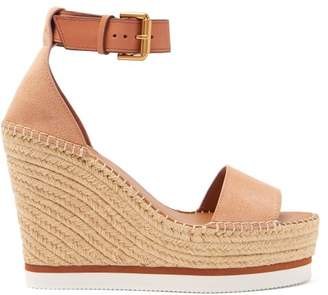 See by Chloe Suede Espadrille Wedge Sandals - Womens - Nude