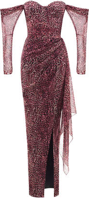 Rasario Cold Shoulder Leopard Print Chiffon Corset Gown