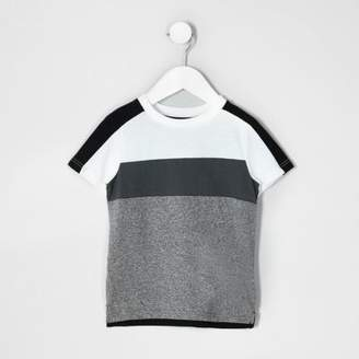 River Island Mini boys white and grey block stripe T-shirt