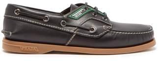 Prada Leather Deck Shoes - Mens - Black