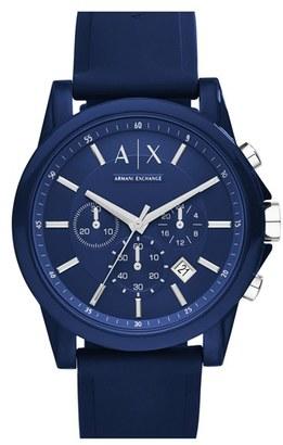 Men's Ax Armani Exchange Chronograph Silicone Strap Watch, 44Mm $120 thestylecure.com