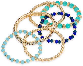 INC International Concepts I.N.C. Gold-Tone 6-Pc. Set Bead & Crystal Stretch Bracelets, Created for Macy's
