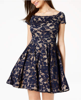 B. Darlin Juniors' Off-The-Shoulder Fit & Flare Dress