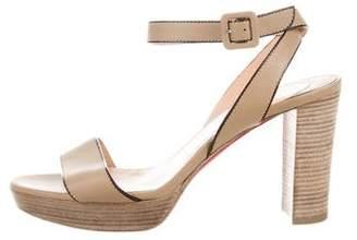 Christian Louboutin Leather Wrap-Around Sandals