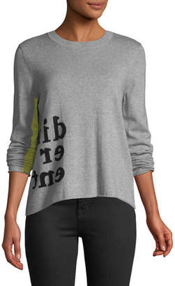 Lisa Todd Different Intarsia Cotton Sweater with Color Pop Sleeve, Plus Size