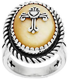 American West Golden Mother-of-Pearl SterlingCross Ring